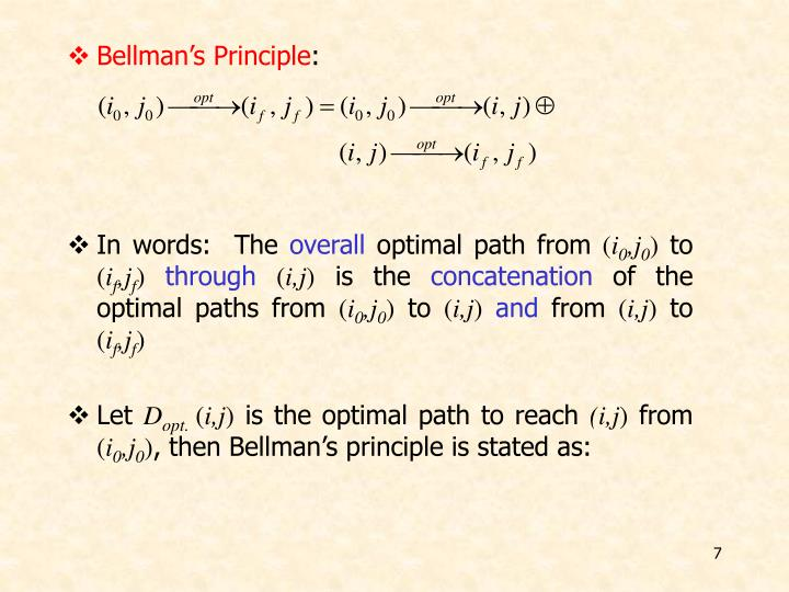 Bellman's Principle