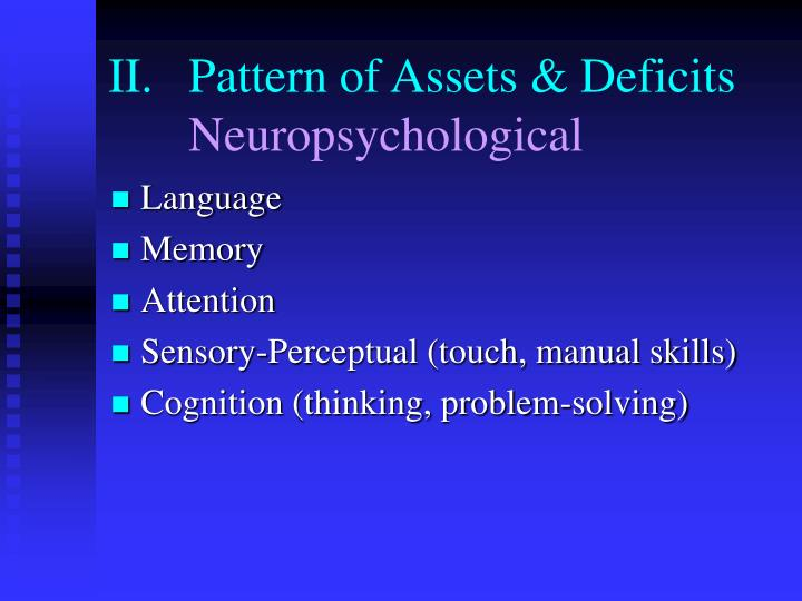 II.	Pattern of Assets & Deficits
