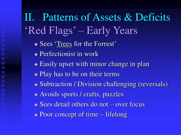 II.	Patterns of Assets & Deficits