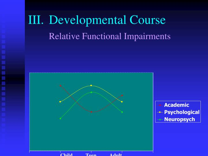 III.	Developmental Course
