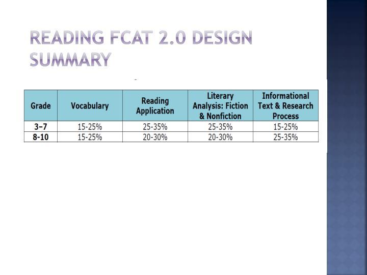 Reading FCAT 2.0 Design Summary