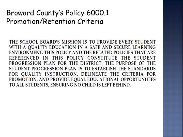 Broward County's Policy 6000.1