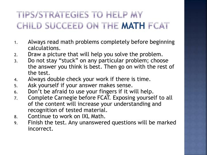 Tips/Strategies to Help My Child Succeed on the