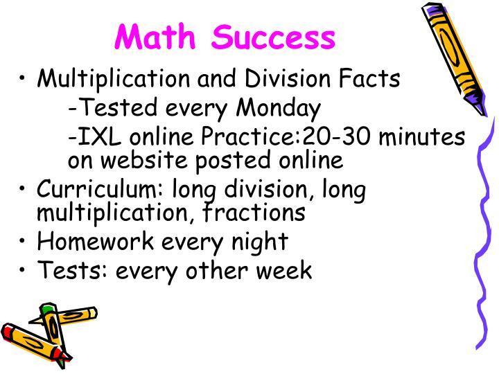Math Success