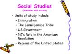 social studies alternates with science