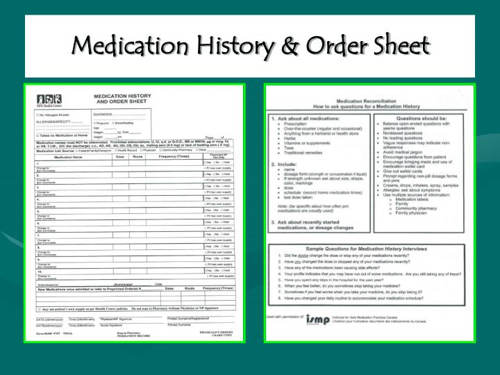 Medication History & Order Sheet