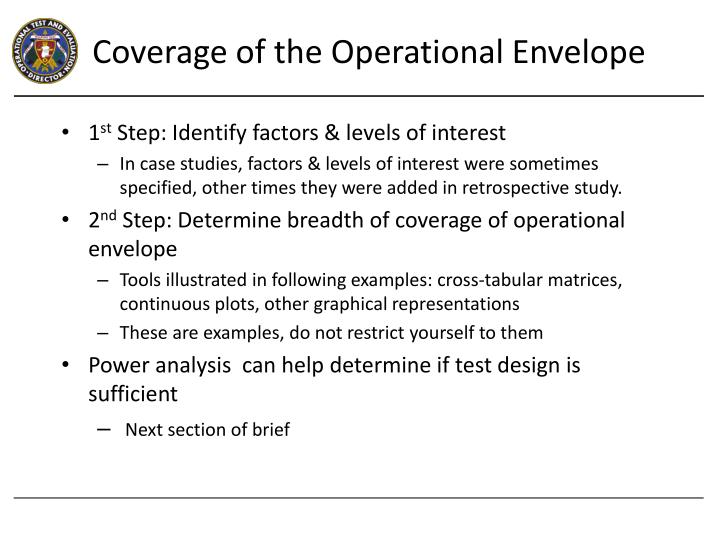 Coverage of the Operational Envelope