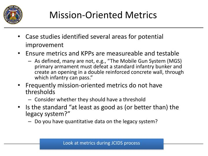 Mission-Oriented Metrics