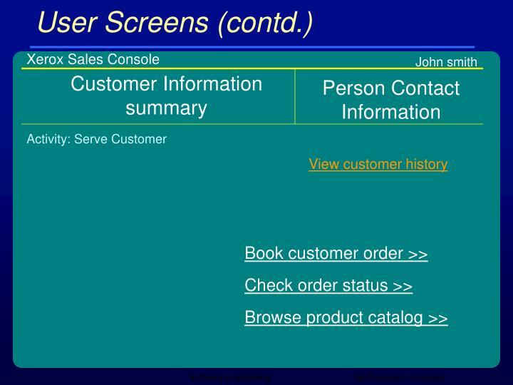 User Screens (contd.)