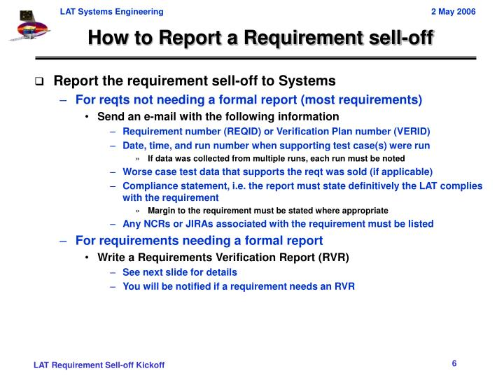 How to Report a Requirement sell-off