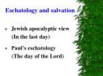 eschatology and salvation