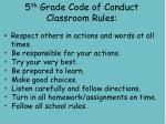 5 th grade code of conduct classroom rules