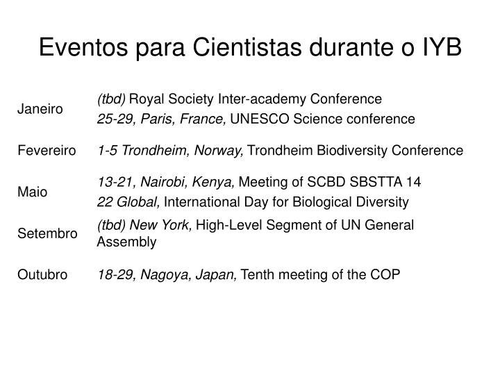 Eventos para Cientistas durante o IYB