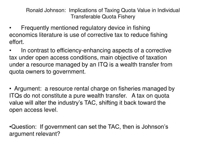 Ronald johnson implications of taxing quota value in individual transferable quota fishery