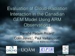 evaluation of cloud radiation interaction in the canadian gem model using arm observations