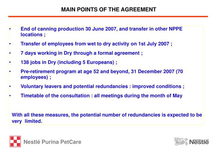 MAIN POINTS OF THE AGREEMENT