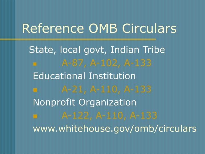 Reference OMB Circulars