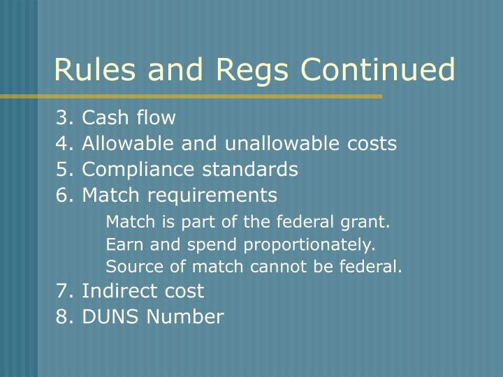 Rules and Regs Continued