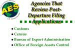 agencies that review post departure filing applications