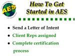 how to get started in aes