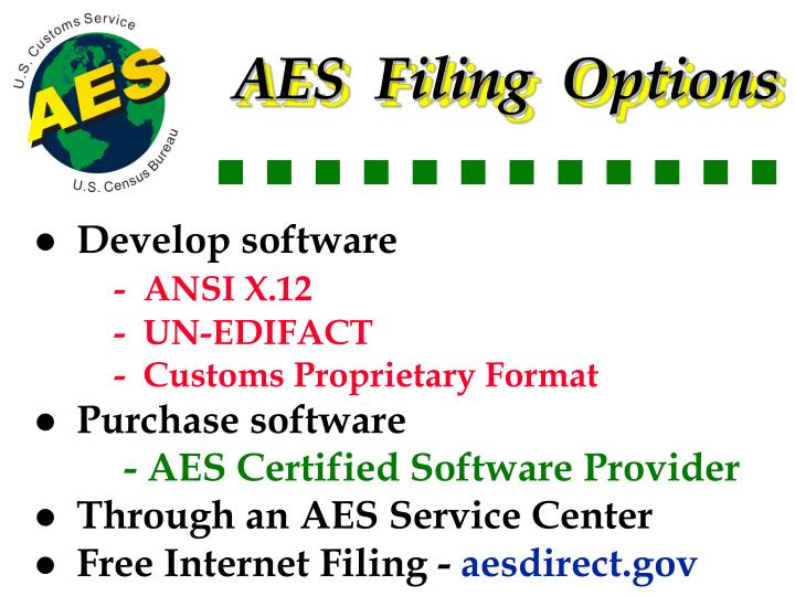 AES  Filing  Options
