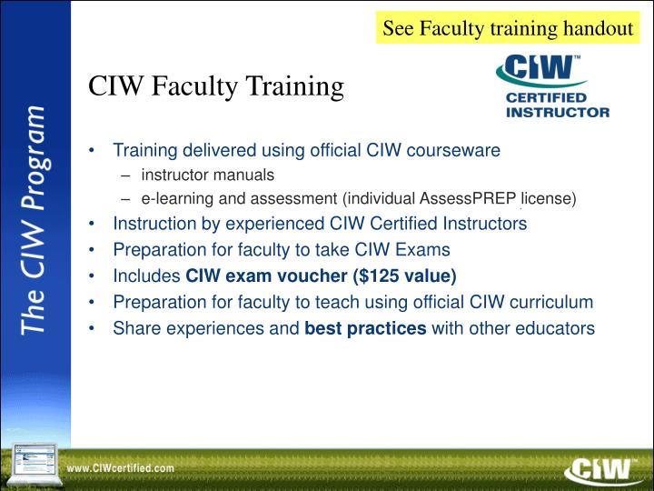 See Faculty training handout