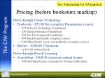pricing before bookstore markup
