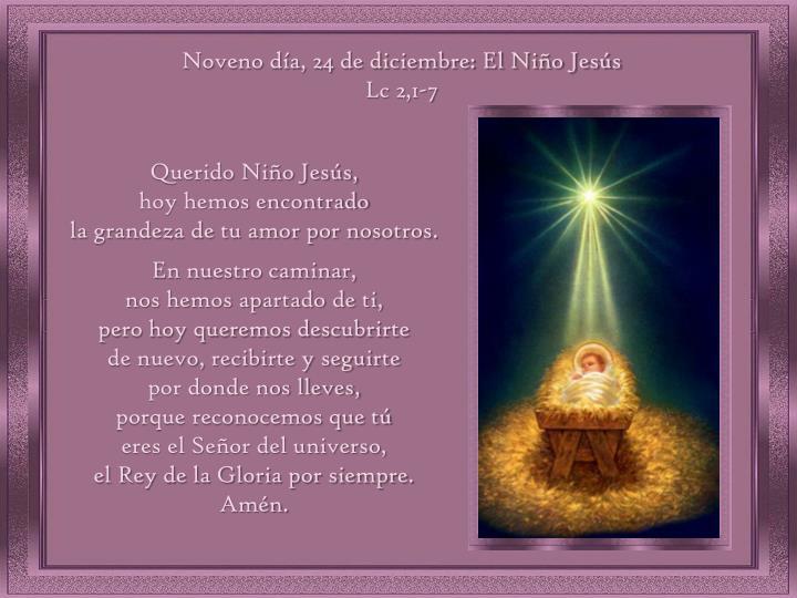 Noveno día, 24 de diciembre: El Niño Jesús