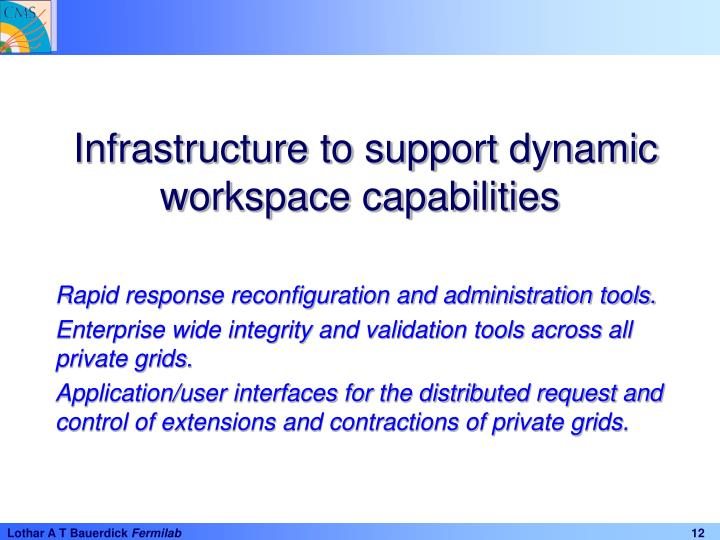Infrastructure to support dynamic workspace capabilities