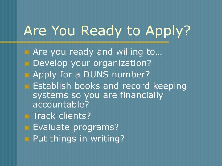 Are You Ready to Apply?