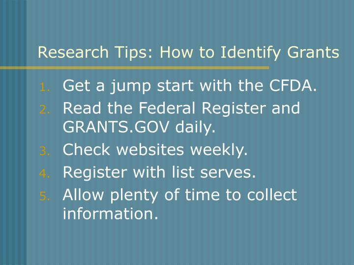 Research Tips: How to Identify Grants