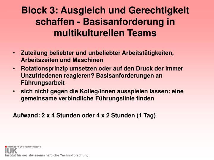 Block 3: Ausgleich und Gerechtigkeit schaffen - Basisanforderung in multikulturellen Teams