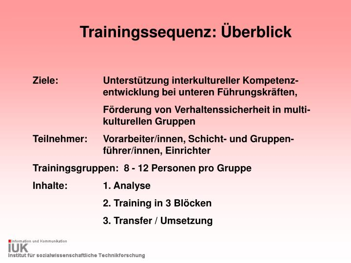 Trainingssequenz: Überblick