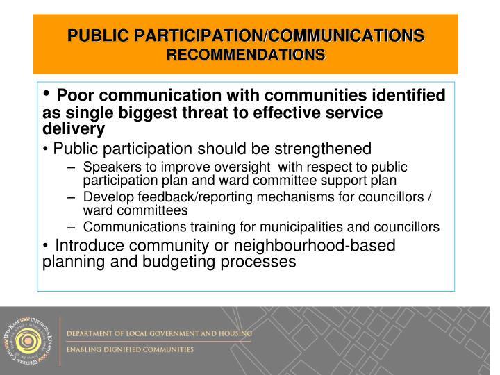 PUBLIC PARTICIPATION/COMMUNICATIONS