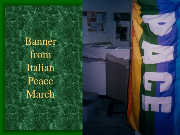 Banner from Italian Peace March