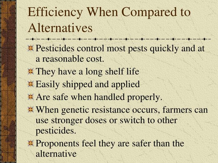 Efficiency When Compared to Alternatives
