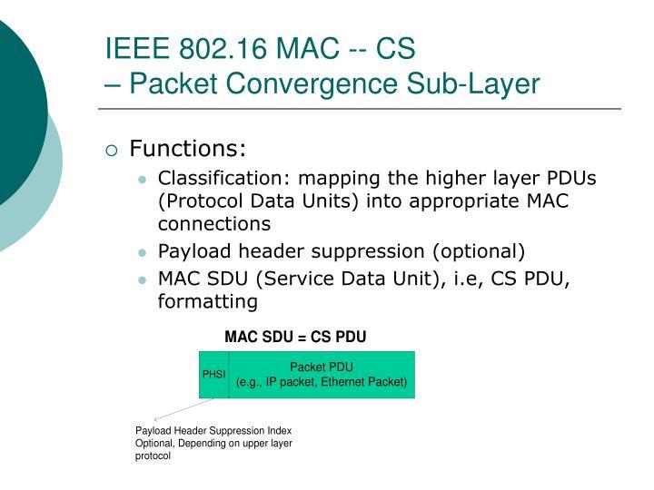 IEEE 802.16 MAC -- CS