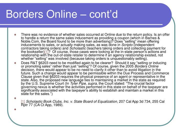 Borders Online – cont'd