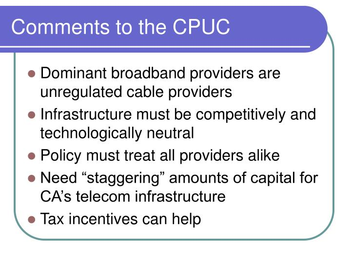 Comments to the CPUC