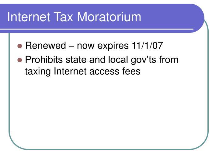 Internet Tax Moratorium