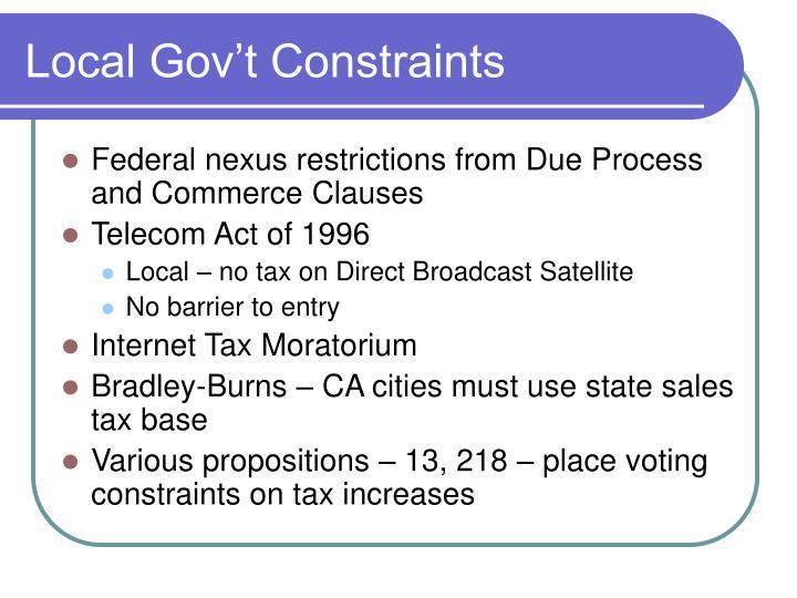 Local Gov't Constraints
