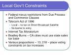 local gov t constraints