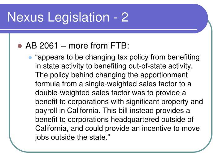 Nexus Legislation - 2