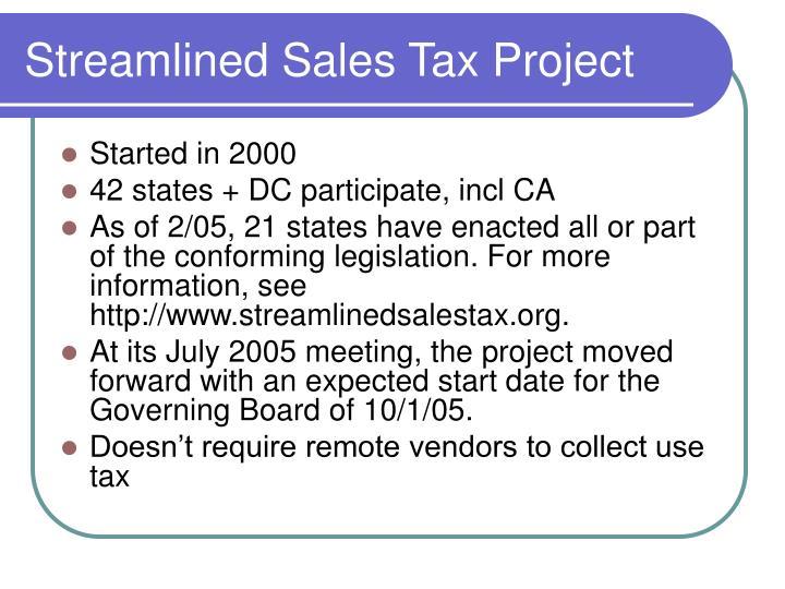 Streamlined Sales Tax Project