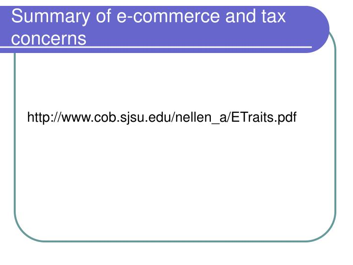 Summary of e-commerce and tax concerns