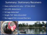 summary stationary receivers