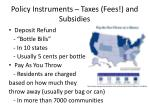 policy instruments taxes fees and subsidies