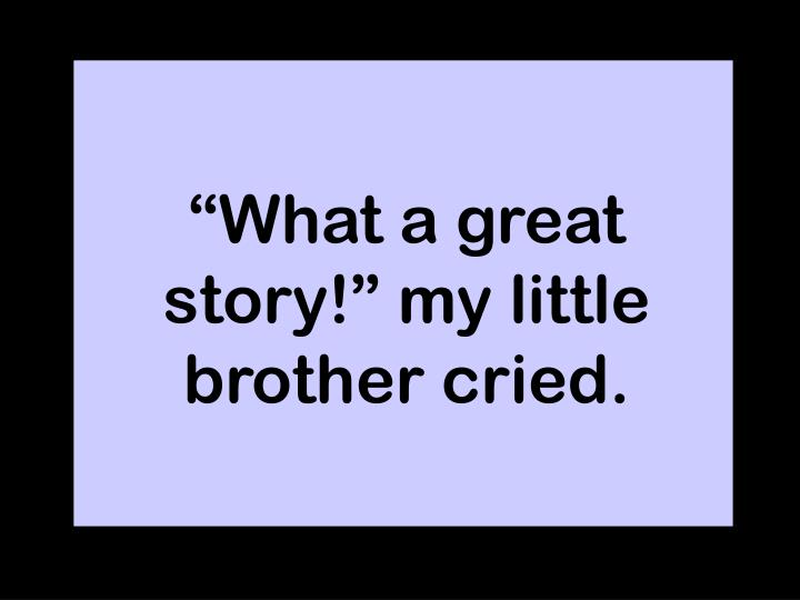 """""""What a great story!"""" my little brother cried."""