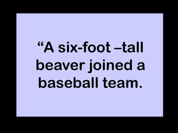 """A six-foot –tall beaver joined a baseball team."