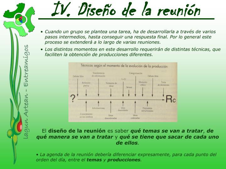 IV. Diseño de la reunión
